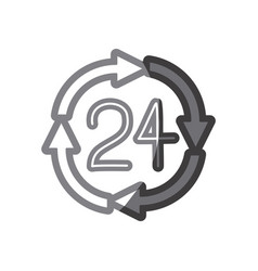 Grayscale silhouette of 24 hours arrow circle icon vector