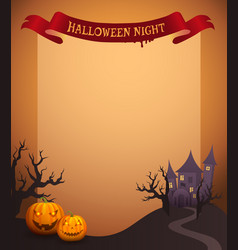 Halloween night in ribbon vector