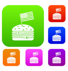 hamburger set color collection vector image