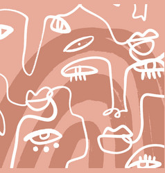 hand drawn women faces line drawing modern vector image