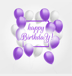 Happy birthday card with violet and white balloons vector