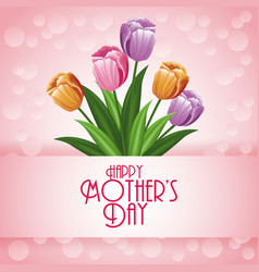 happy mothers day card with flowers and bubbles vector image