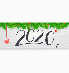 happy new year wishes for 2020 with fir branches vector image