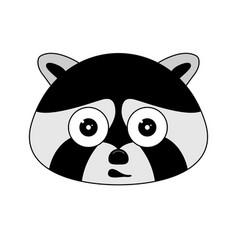 Head of racoon in cartoon style kawaii animal vector
