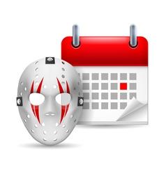 Hockey mask and calendar vector image
