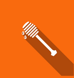 honey dipper stick with dripping honey icon vector image