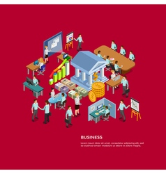 Isometric Business Concept Set vector image