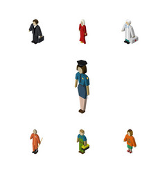 Isometric people set of cleaner plumber lady and vector