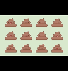 Kawaii poop emotions pack vector image