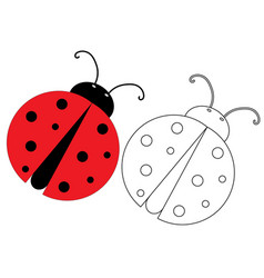 Ladybug coloring page game for kids vector
