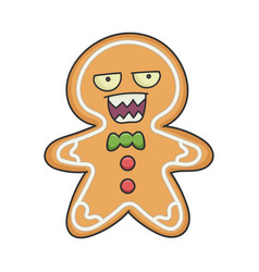 mad angry christmas ginger bread cookie cartoon vector image