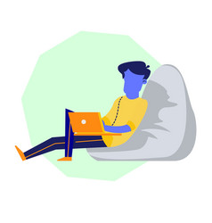 Male character in beanbag chair working on laptop vector