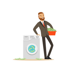 man in a business suit washing the money in a vector image