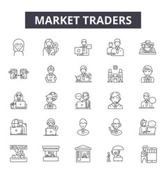 Market traders line icons signs set vector