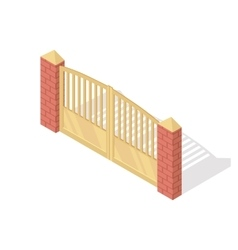 Metal Gate Icon In Isometric Projection vector image