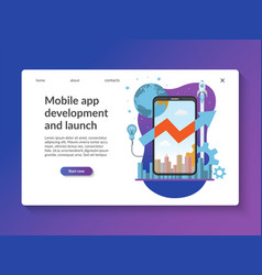 mobile app development landing page template vector image