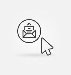 mouse click on e-mail button outline vector image