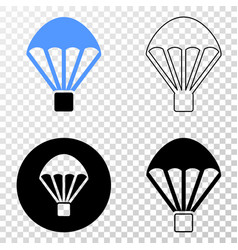 Parachute eps icon with contour version vector