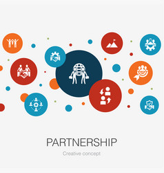 Partnership trendy circle template with simple vector