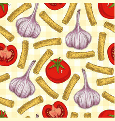 Pasta and vegetables seamless pattern vector
