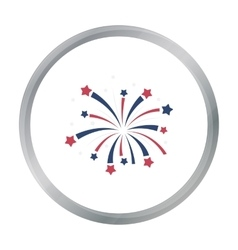 Patriotic fireworks icon in cartoon style isolated vector