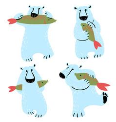 Polar bears set with fish cute wild antarctic and vector