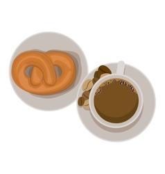 Pretzel and coffee cup design vector