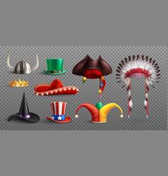 Realistic masquerade hats transparent set vector