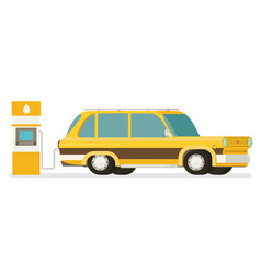 Refuel car at gas station concept flat vector