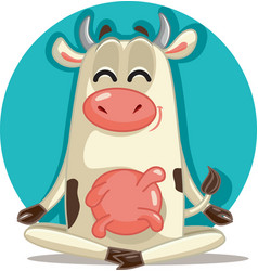 relaxed cow in meditation pose cartoon vector image