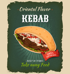 Retro fast food kebab sandwich poster vector