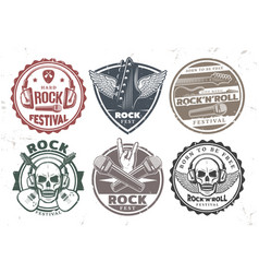 retro rock music stamps set vector image