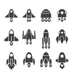 rocket icon set vector image