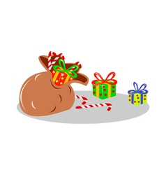 Santas sack bag of presents vector