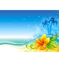 Sea background with hibiscus and palms vector