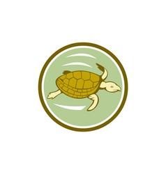 Sea Turtle Swimming Circle Cartoon vector