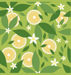seamless pattern lemon slices and orange vector image