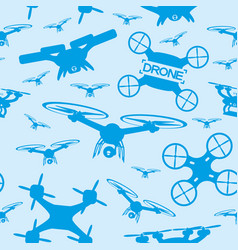 Seamless pattern with drones vector