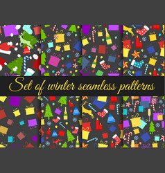 Seamless patterns christmas winter pattern with vector