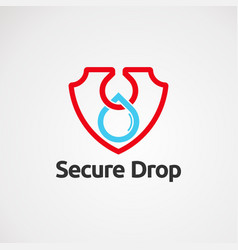 Secure drop logo with simple touch icon element vector