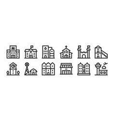 Set 12 thin outline icons such as airport vector