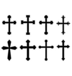 set christian religious crosses design vector image