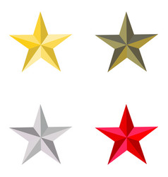 set of golden silver bronze and red stars vector image