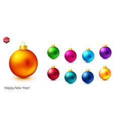 set of shiny and bright colored christmas balls vector image