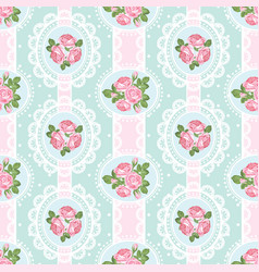 shabchic rose seamless pattern on polka dot vector image