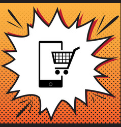 shopping on smart phone sign comics style vector image
