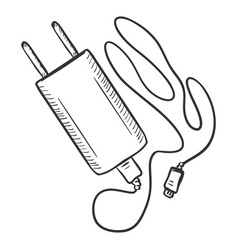 Single sketch charger for mobile phones vector