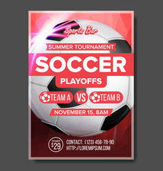 soccer game poster modern tournament vector image