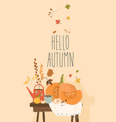 still life with pumpkin and autumn elements vector image