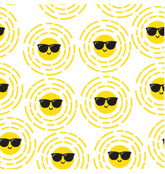 summer sun seamless pattern vector image